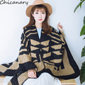 2016 New Fake Cashmere Thicken Winter Warm Cape Long Section Geometric Women's Cloak Scarf 128*145CM