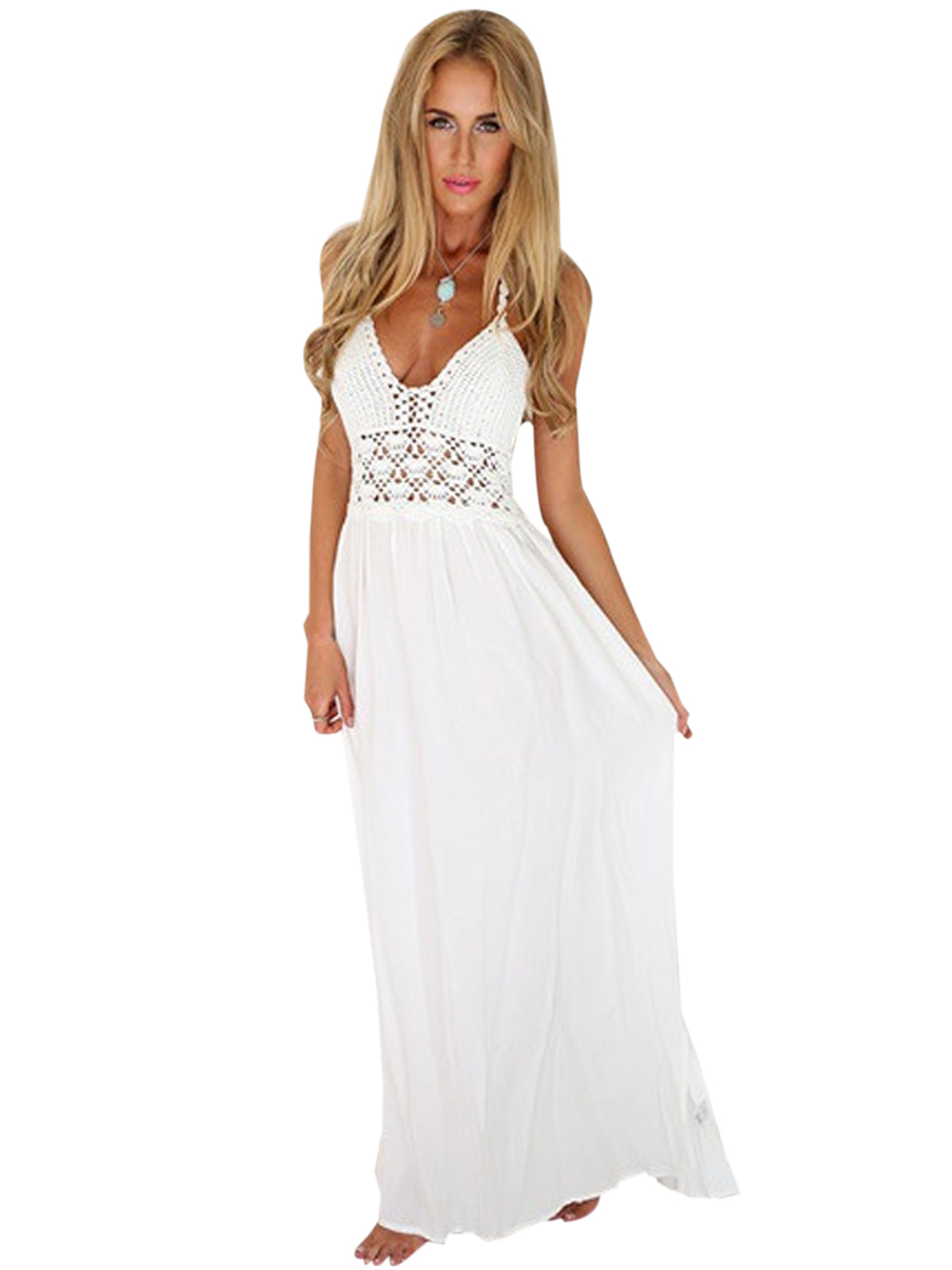 Sheer White Maxi Summer Dresses