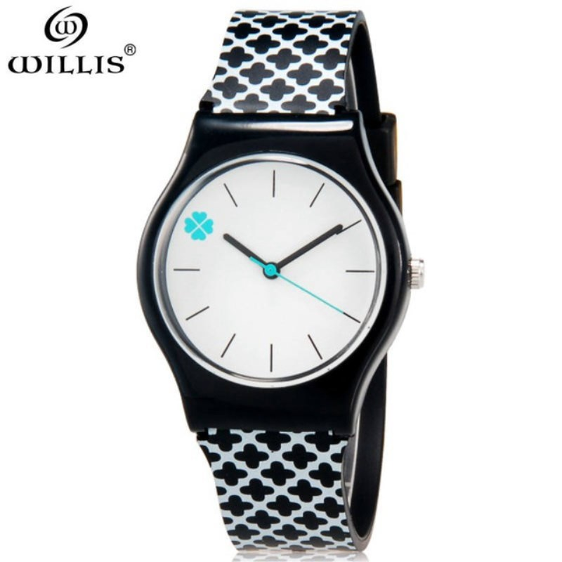 WILLIS Student Watches Fashion Women Clover Dial Water Resistant Silicone Strap Sport Watches Relogio Feminino Relogio Masculino