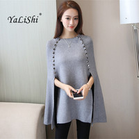 Luxury Party Club Women Wool Cloak Shawl Button Elegant Knitting Sweater Cape Winter Ponchos Loose Pullover Long Knitted Jumper