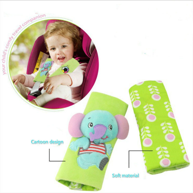 Heart Service Baby Car Seat Pad Head Support Band Stroller Seat Safety Belt Strap Color Letter Pattern Security Strap Colorful