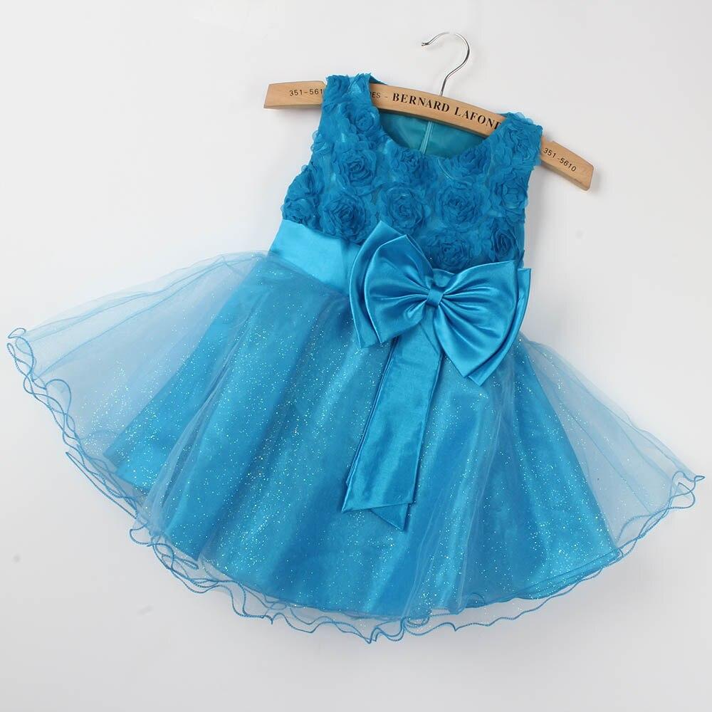 Summer New Fashion Cute Baby Girls Princess Dress Beads Flower Bow ...