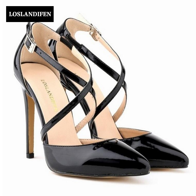 Womens Stilettos High Heels Strap Cross Strap Shoes Sexy Ladies Pointed Toe Shoes Pumps Chic Woman Dress Shoes Footwear Black цена 2017