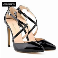 Womens Stilettos High Heels Strap Cross Strap Shoes Sexy Ladies Pointed Toe Shoes Pumps Chic Woman Dress Shoes Footwear Black