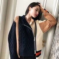2018 Women Color Block Casual Knitted Baseball Jacket Autumn Winter Turn Down Collar Irregular Fashion Sweater Jumper Cardigan