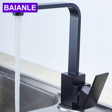 BAIANLE Kitchen faucet single hole single mixed black water faucet square Copper tap a1002 single ended table style angle faucet pure copper water nozzle laboratory water tap faucet