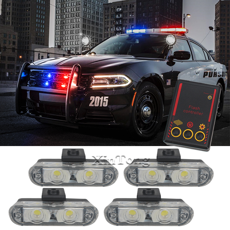 MZORANGE Hot sale 4X2 Ambulance Police light 2 LED DC 12V led Warning light 8W Car Truck Light Flashing Firemen Lights Red Blue brand new universal 40 w 6 inch 12 v led car work light daytime running lights combo light off road 4 x 4 truck light