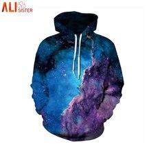 Alisister Galaxy Space толстовки Толстовка с 3d принтом для мужчин и женщин тонкий пуловер с капюшоном размера плюс толстовки с кепкой Masculino