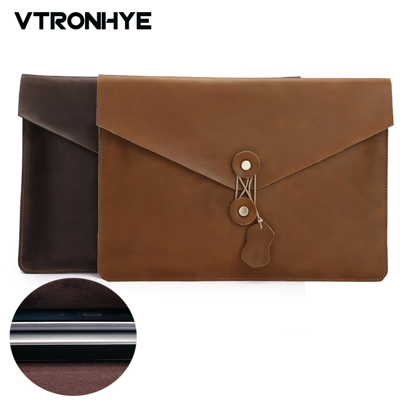 Laptop Bag 11 13 15 For Macbook Air Pro Retina Case Second Layer Cowhide Leather Laptop