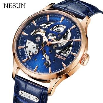 Luxury Brand NESUN Men Fully Automatic hollow Mechanical Watches relogio masculino Waterproof  clock