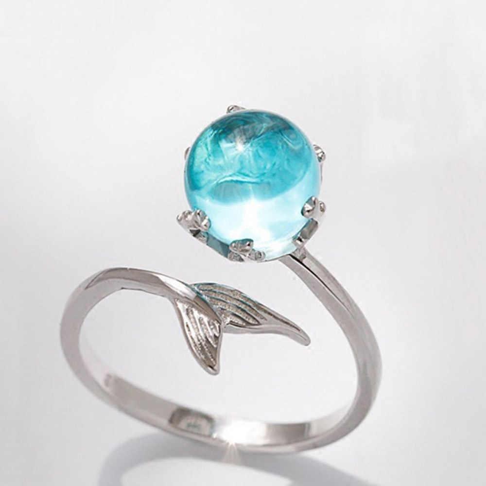 1Pc เงินสีฟ้าคริสตัล Mermaid ฟองเปิดแหวนผู้หญิงแฟชั่นเครื่องประดับปรับขนาดแหวน Bijouterie