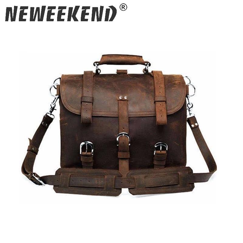 NEWEEKEND Ретро Модный Топ Корова пояса из натуральной кожи Crazy Horse Multi Функция 16 дюймов рюкзак чемодан дорожная сумка 5048