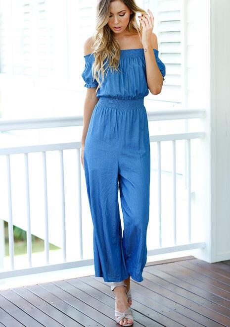 Women's Clothing Elegant Bodycon Woman Jumpsuit Romper 2018 Elegant Strapless Summer Bodysuit Women Summer Wide Leg Blue Overall