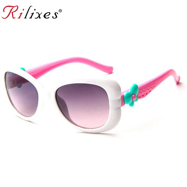 RILIXES 2018 Lovely Kids Sunglasses Brand Baby Girls Sunglass Children Sun Glasses UV400 Goggles Eyewear Clear Pink Red Sunglass