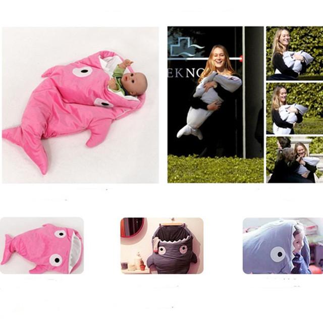 Venda quente Bonito Tubarão Dos Desenhos Animados Do Bebê Saco de Dormir Saco de Dormir Do Bebê Inverno Quente Cobertor Do Bebê Swaddle Quente