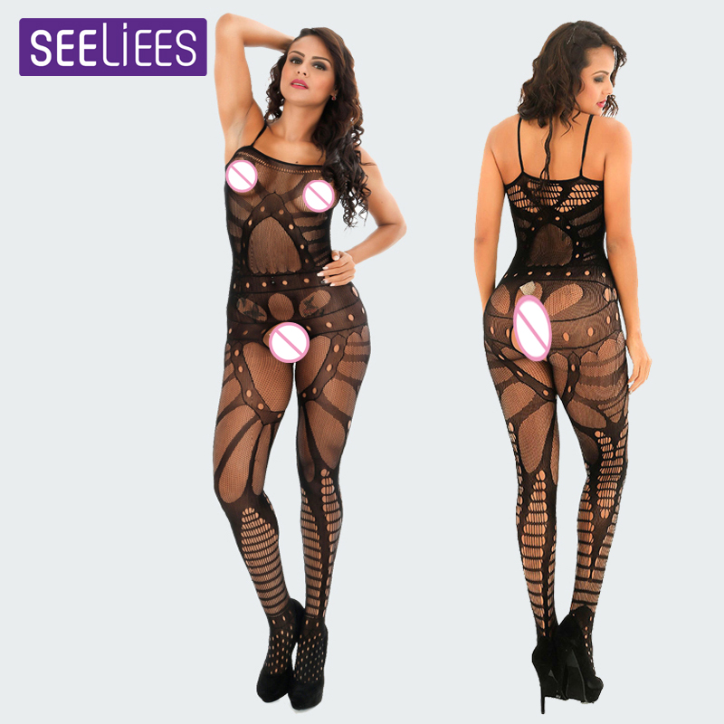 Plus Size Sheer Body Stocking Latex Open Crotch Catsuit Body Stocking Fishnet Open Body Women Sexy Costumes bdsm Lingerie SC33