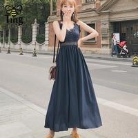 Tingfly azul Sexy vestido backless ahueca hacia fuera el encaje partchwork vestido elegante mujeres V cuello de gasa vestido largo holiday verano
