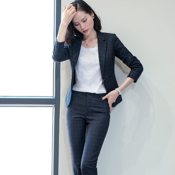 Women's new fashion Slim temperament plaid suit two-piece suit (jacket + pants) women's business formal office professional suit