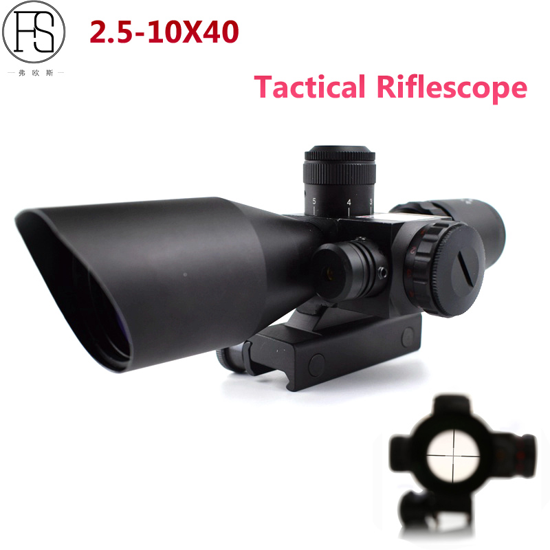 2.5-10x40 Tactical Riflescope Hunting Optics Green Red Laser Sight Scopes For 11mm Or 20mm Rail Airsoft Shooting Sniper Scope kandar 6 18x56q front tactical riflescope big objective with glass plate riflescope military equipment for hunting scopes
