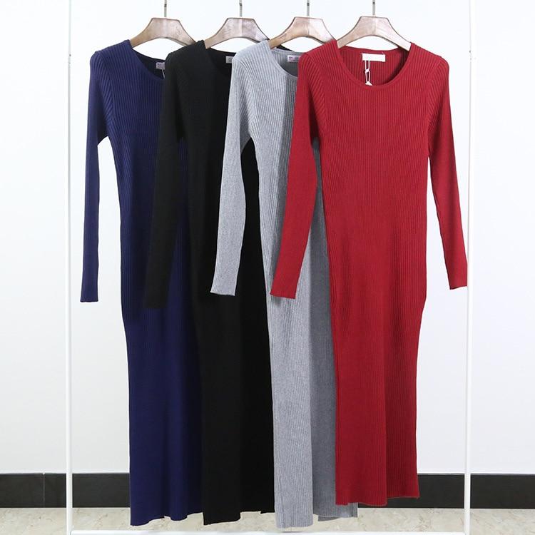 Women Cashmere Winter Dress Split Pencil Bodycon Dress Long Sleeve Sexy Club Dresses Party Bandage Dress Office Vestidos L1103