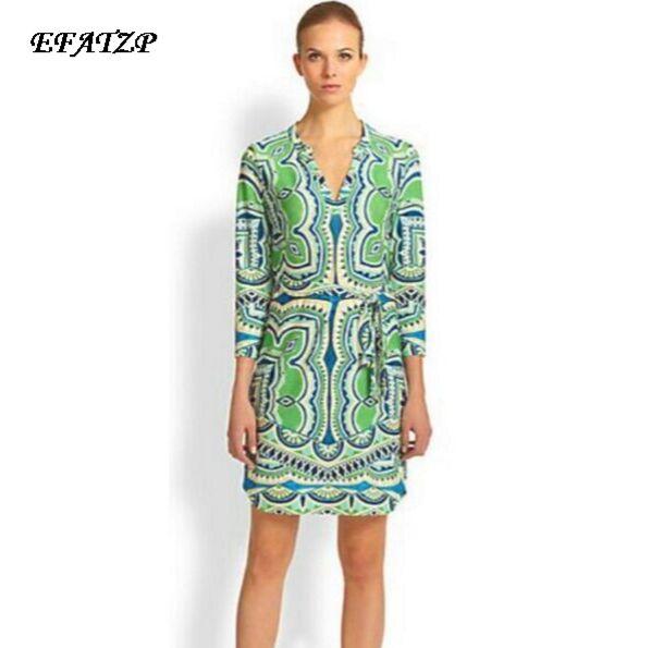 b11fe7b8ca2 Новинка 2015 люксовых брендов Для женщин зеленый принт элегантный 3 4 рукав Джерси  шелковое платье милое платье XXL Бесплатная доставка купить на AliExpress