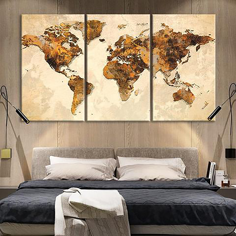Living Room HD Printed Modern Painting 3 Piece/Pcs Old World Map Modular Picture Wall Art Home Decor Posters Frame On Canvas