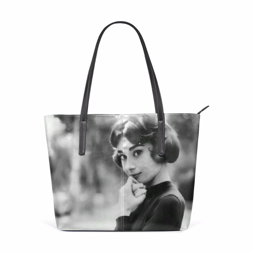 Audrey Hepburn Women Shoulder Bag Handbag S Bookbag Pu Leather Large Capacity Top Handle Modern Lady Black In Bags From