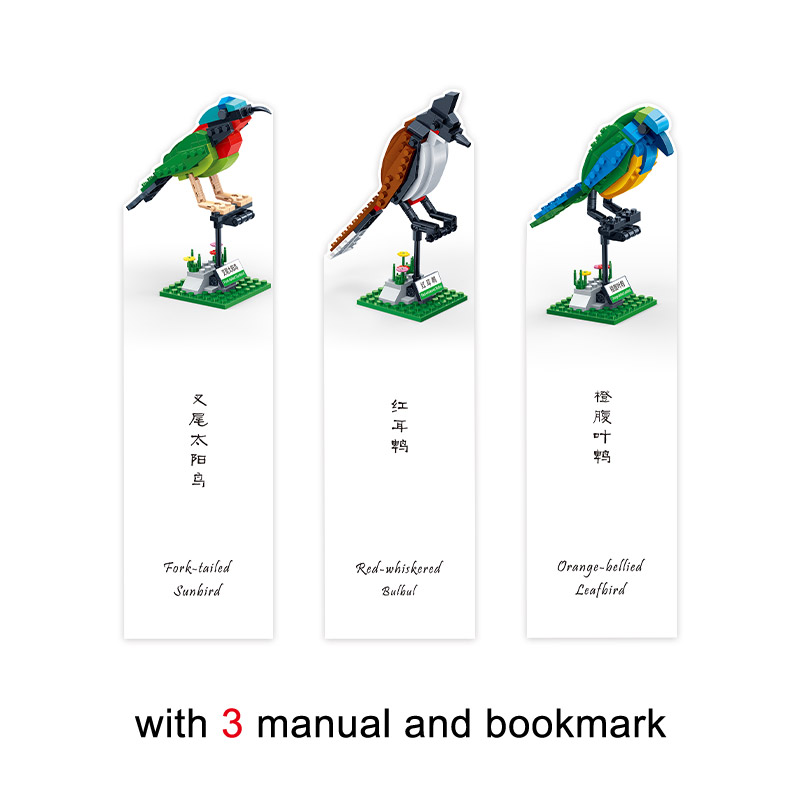 BanBao 5123 3 Birds Set Animal Cognition Bricks with stickers
