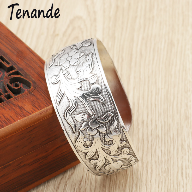 Tenande Vintage Punk Big Statement Open Leaves Flowers Bracelets & Bangles For Women Tibet Silver Color Cuff Jewelry Wristband