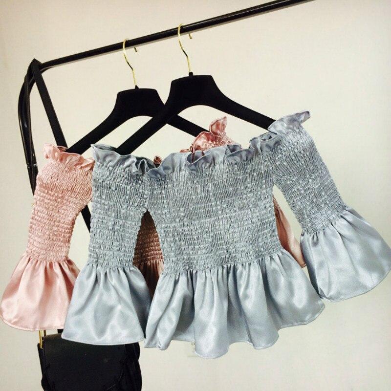 Women Pleats Ruffles Blouse One Shoulder Lolita Palace Royal Princess Ruffles Sleeve Girls Crop Tops Satin Faux Silk