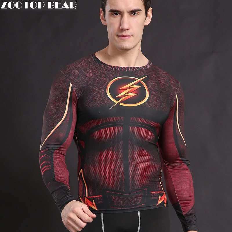 The Flash T shirt  Compression Tights Shirt Crossfit Clothing Fitness Costume Superhero T-shirt Top Justice League ZOOTOP BEAR