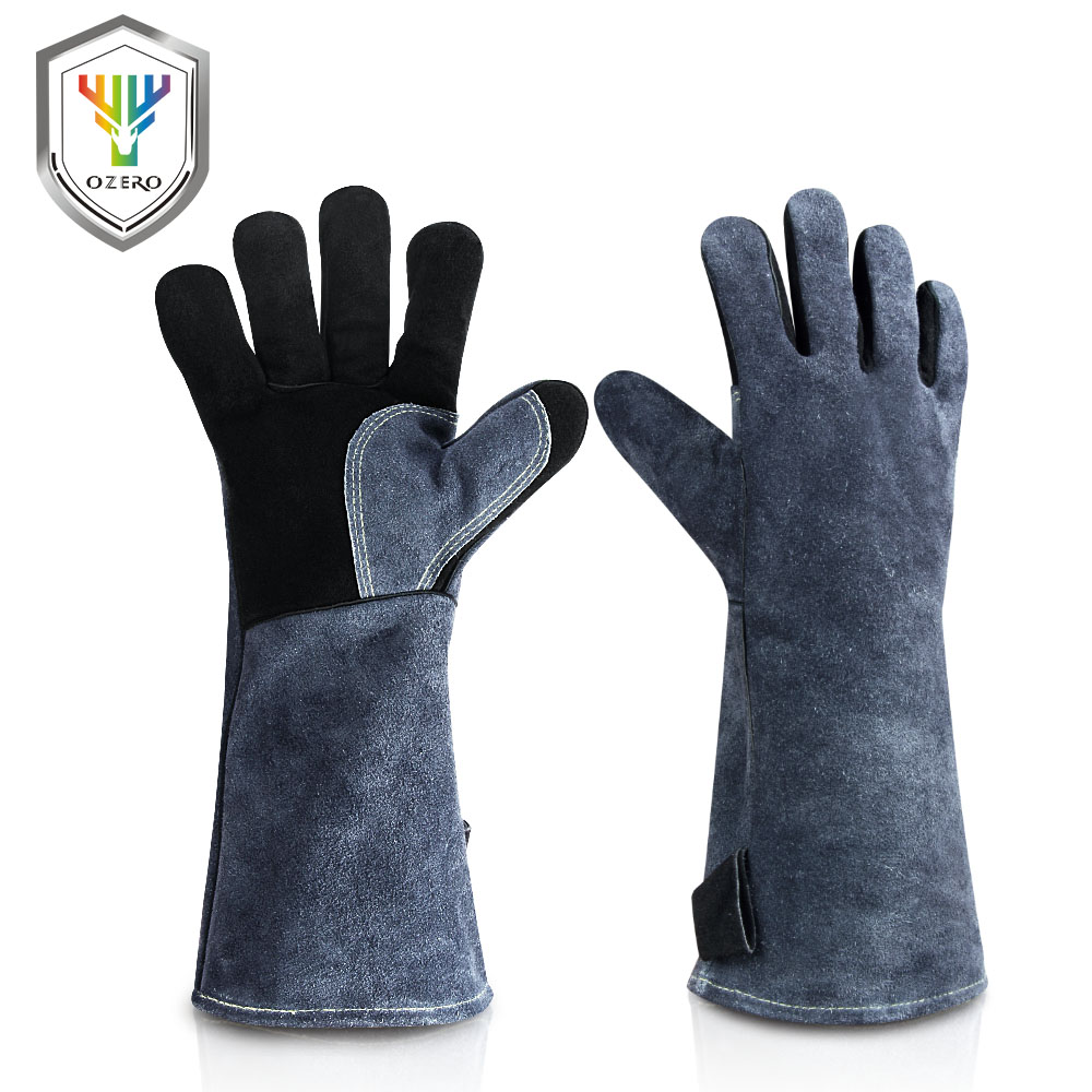 OZERO Work Glove Welder's Cowskin Leather Barbecue Gloves Working Garden Protective Cut Resistant Long Sleeve Glove 2415
