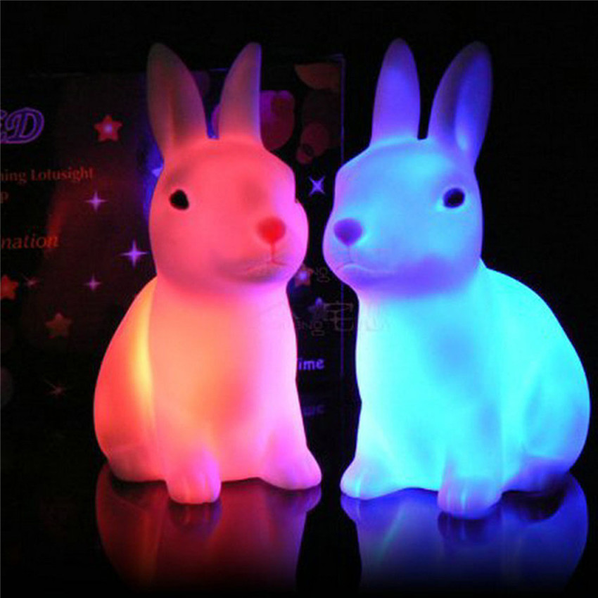 Night Lovely Sleeping Lamp Baby Room Rabbit Cartoon Light Kids Children Bed Lamp For Decor Gifts On Off Switch With Dry Battery