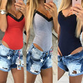 Women Sexy V-neck Lace Stitching Cami Black Gray Red Tank Top Camis Tops Slim Cami Crop Top T Shirt Bodysuit