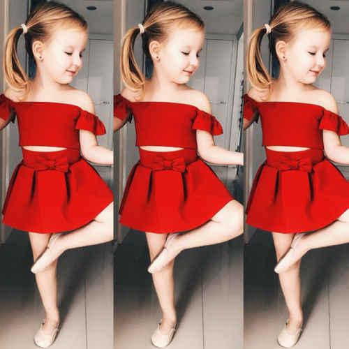 Pudcoco nowa dla dzieci dziewczyny czerwone spódnica zestaw ubrań dla niemowląt dziewczyna Party formalna Off ramię Crop Top spódnica dla dzieci moda dla dzieci stroje ubrania