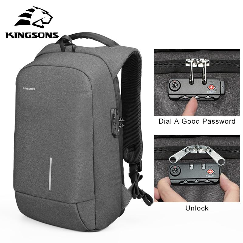 Kingsons Anti theft Lock Backpack Phone Sucker Laptop Bags 13 15 USB Charging Backapcks School Bag