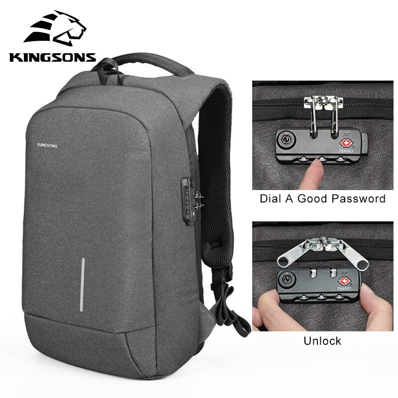 Kingsons Anti robo de bloqueo mochila teléfono lechón bolsas de ordenador portátil 13''15'' de carga USB Backapcks bolsa de la escuela-in Mochilas from Maletas y bolsas    1