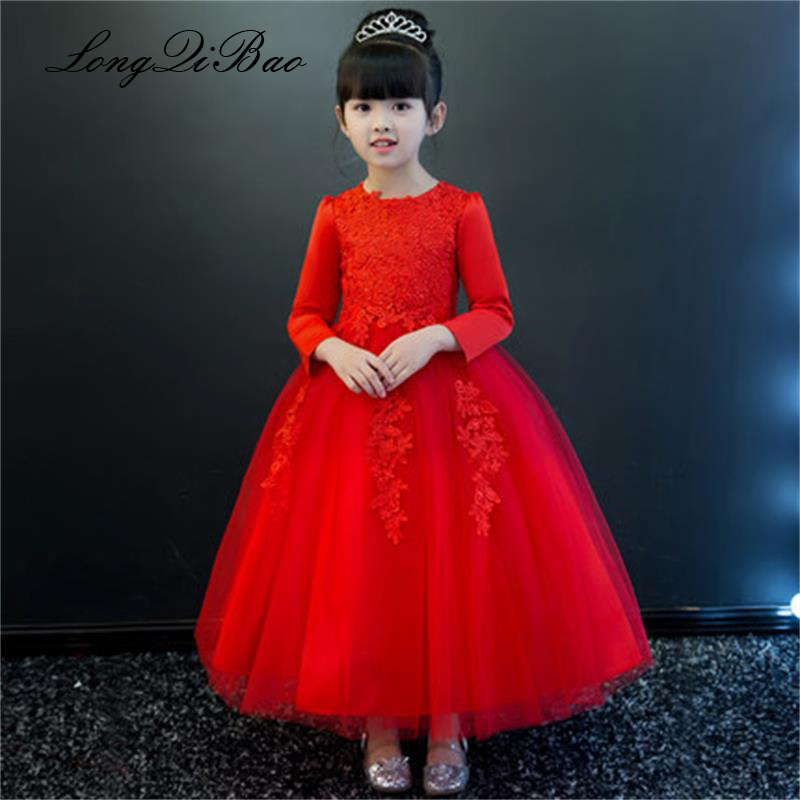 Baby girl red children's dress princess dress long sleeve birthday flower girl dress girl piano host costume long winter plaid long sleeve belted midi dress