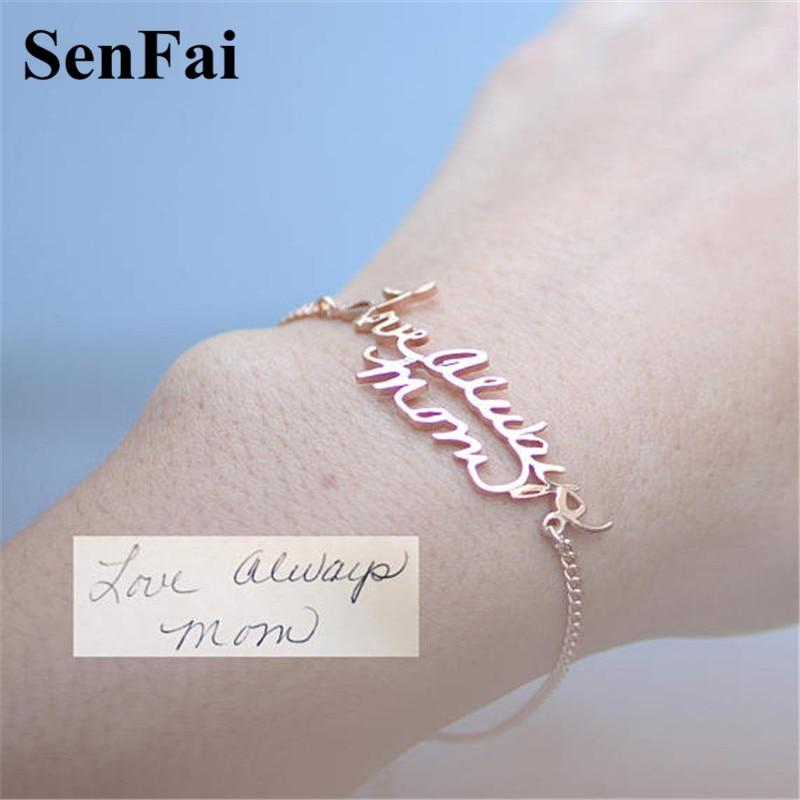 Senfai Hot Name font b Bracelets b font Bangles for women men Custom Personalize Rose font