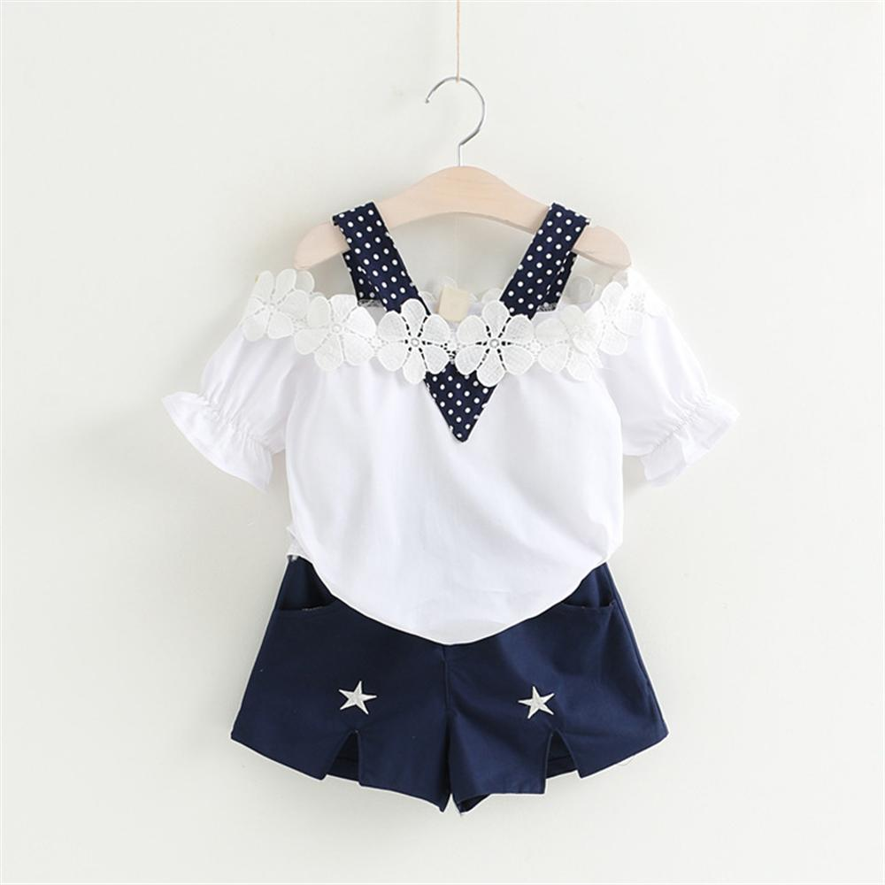 2018 New Girls Clothes Summer Style Tops Shorts 2pcs Kids Suits 3 4 5 6 7 Year Children Clothing Set