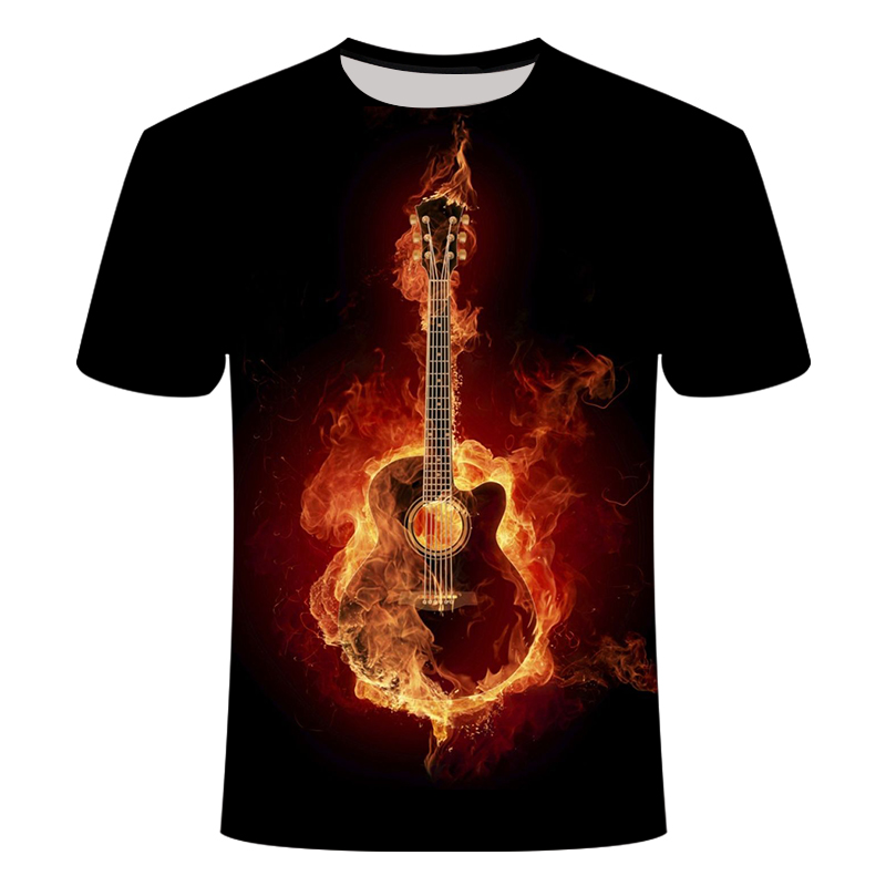 New Men's 3D Printed T-Shirt Rock&roll Tshirt Musical Guitar Elastic Breathable Summer American Casual Orchestra Band Asian Size