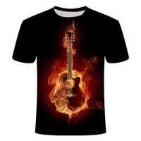 Nowa męska koszulka z nadrukiem 3D rock & roll tshirt gitara muzyczna elastyczna oddychająca letnia amerykańska casualowa orkiestra w rozmiarze azjatyckim