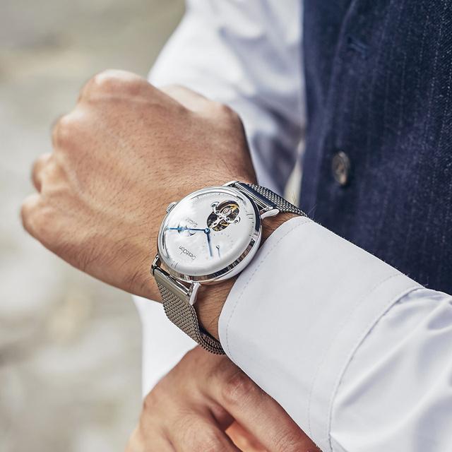 Bestdon Luxury brand Men Automatic mechanical watch Unique Design Style mens Tourbillon Watches steel mesh strap clock relogio