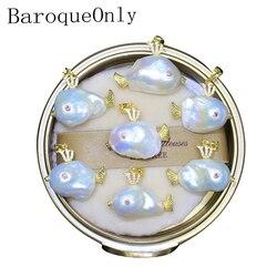 BaroqueOnly natürliche süßwasser barocke perle einzigartige fisch schöne anhänger 925 silber sterling für girfriends/tochter geschenk PH
