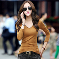Long Sleeve T-shirts Women Summer 2017 Hot V-neck Sexy T Shirt Casual Solid Slim Cotton Tshirts Female Top Tees Clothes Femme
