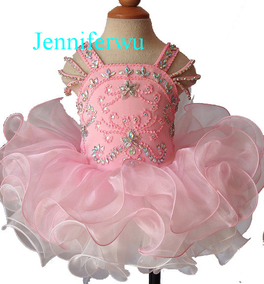 crystal beaded skirt little girl pageant dress and girl formal cloths1T-6T G123-1