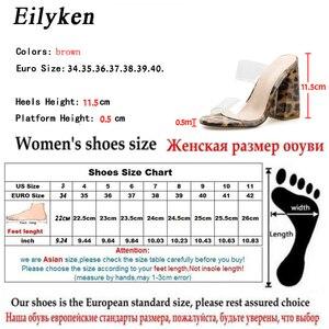 Image 5 - Eilyken seksi PVC şeffaf leopar tahıl bayanlar terlik yaz moda parti yüksek topuklu ayakkabı gladyatör slaytlar sandalet kadın