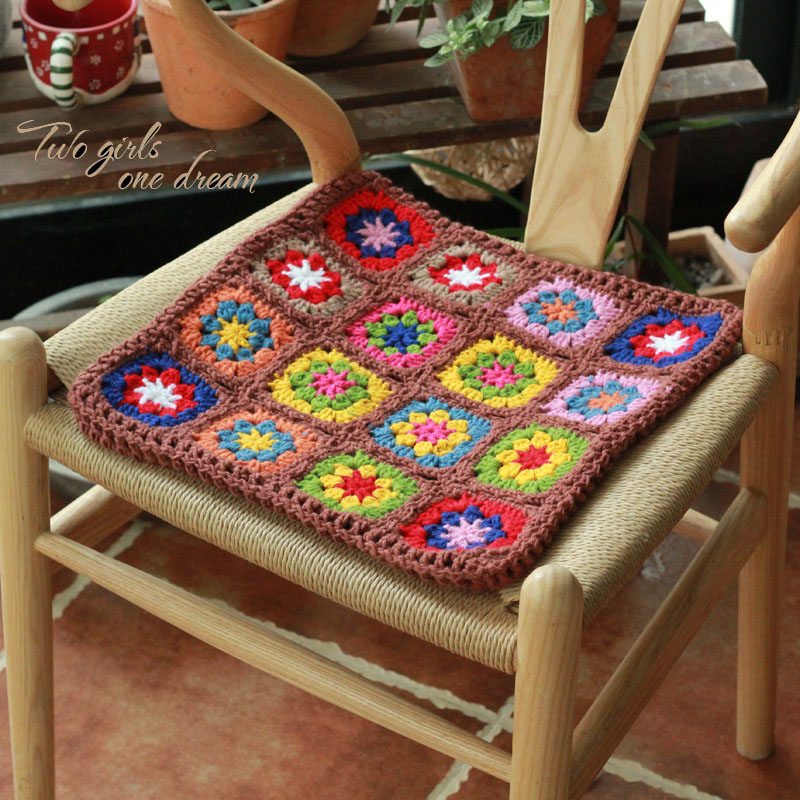 Original 3838cm Handmade Crochet Seat Cushion Korea Diy Home Chair