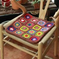 Original 38*38cm Handmade Crochet Seat Cushion Korea DIY Home Chair Cushion National Traits Wedding Decor Prop