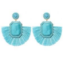 цена на Fashion Square Candy Color Resin Stone Tassel Earrings Women's Colorful Beaded Ribbon Dangle Earrings Wedding Jewelry